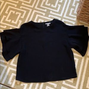 H&M black blouse with short bell sleeve size 2